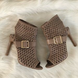 Vince Camuto gray putty perforated leather bootie